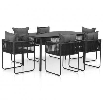 Set mobilier de exterior, 13 piese, poliratan, negru