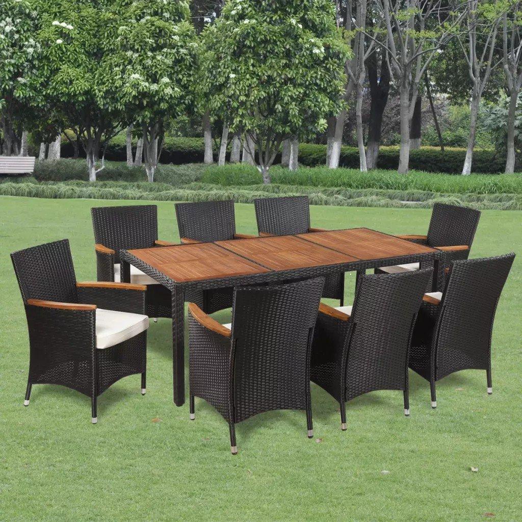 Set mobilier de exterior, 17 piese, poliratan, blat lemn acacia