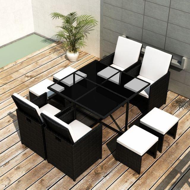 Set mobilier de exterior 21 piese, poliratan, negru,masa din sticla fumurie