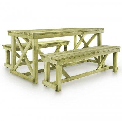 Set mobilier de exterior, 3 piese, lemn FSC