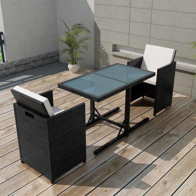Set mobilier de exterior 7 piese, poliratan, negru si masa cu blat din sticla