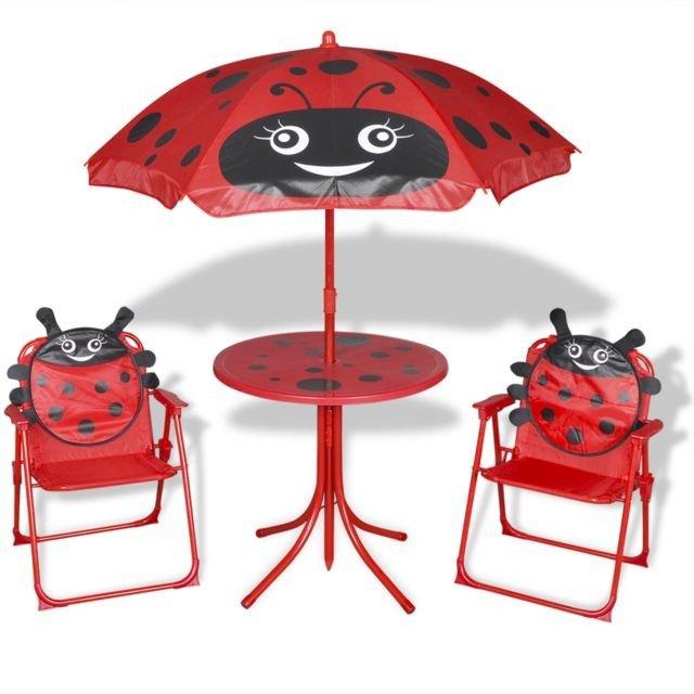 Set mobilier de exterior, cu umbrelă, pentru copii, roșu, cu buburuze