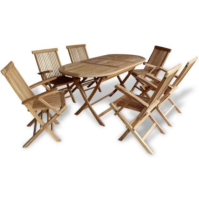 Set mobilier de exterior din lemn de tec, 7 piese