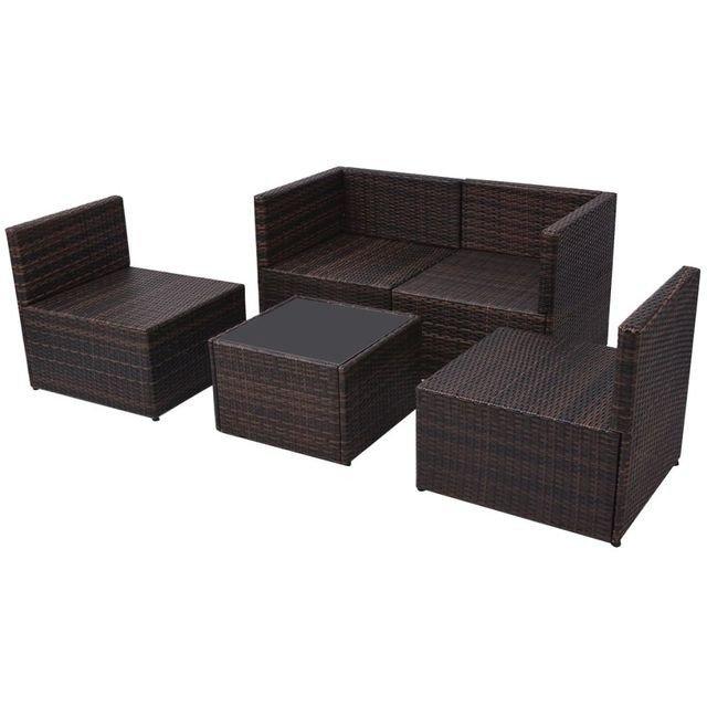 Set mobilier de grădină, 13 piese, Ratan PE , maro