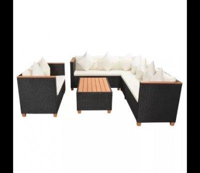 Set mobilier de gradina 27 piese cu coltar, poliratan si blat WPC, negru cu perne albe