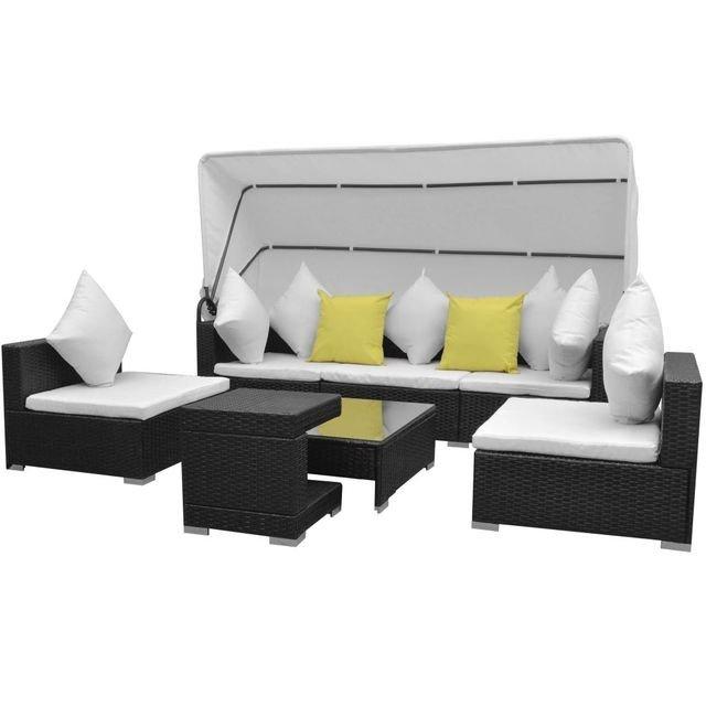 Set mobilier de grădină cu baldachin 23 piese, poliratan, negru