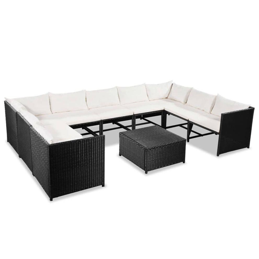 Set mobilier de terasa, 30 piese, poliratan, negru și alb crem