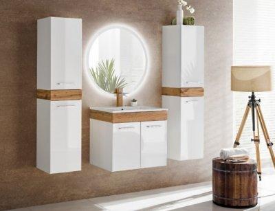 Set Mobilier pentru baie, 5 piese, Aria, lemn, ceramica alba, design modern