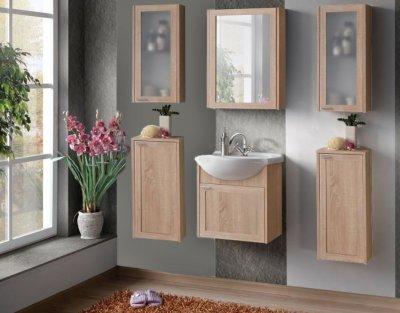 Set Mobilier pentru baie, 7 piese, Piano, stil modern, lemn de stejar, finisaj mat