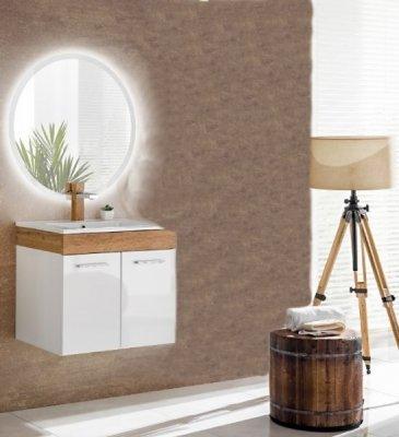 Set Mobilier pentru baie cu oglinda rotunda , 3 piese, Aria, alb satinat, design modern