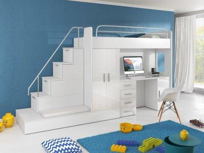 Set pat pentru copii Ruth V (Alb + Alb) (cu somieră și saltea), masa, dulap si scari