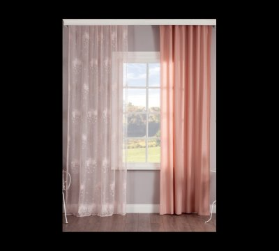 Set perdea si draperie pentru copii Dream Light Pink / Salmon