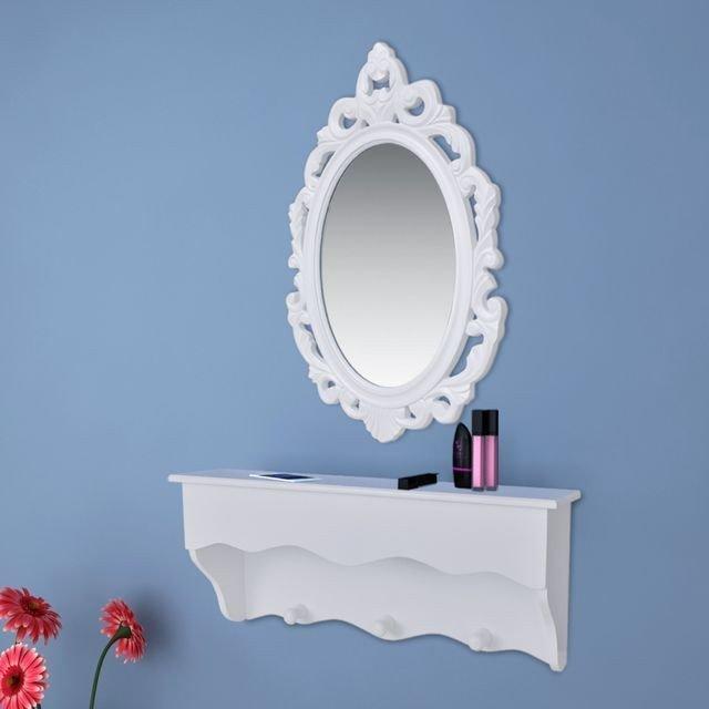 Set raft perete pentru chei si bijuterii, cu oglinda si carlige, alb