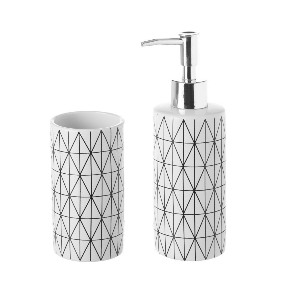 Set suport periuțe și dozator de săpun Unimasa Geometry, ceramică, alv cu model geometric negru