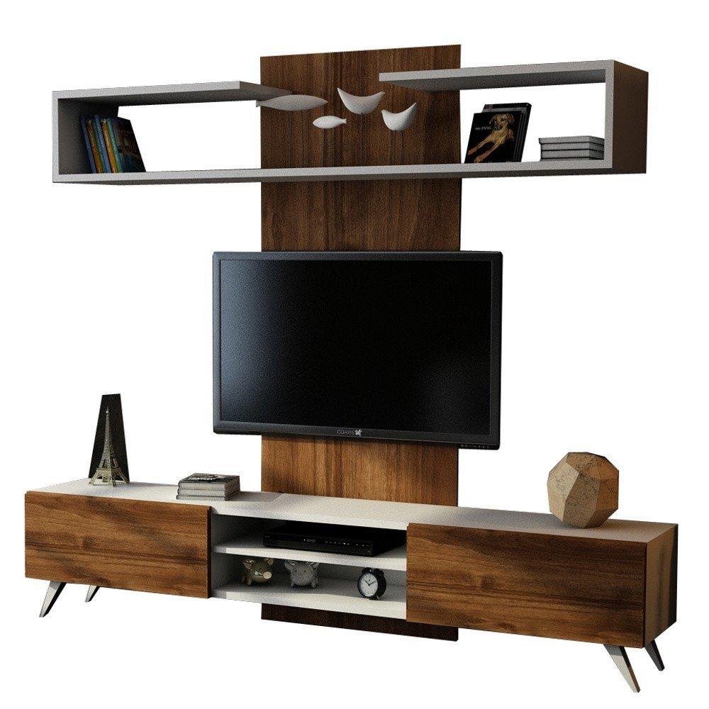 Set TV în decor de lemn de nuc Dem, stil industrial