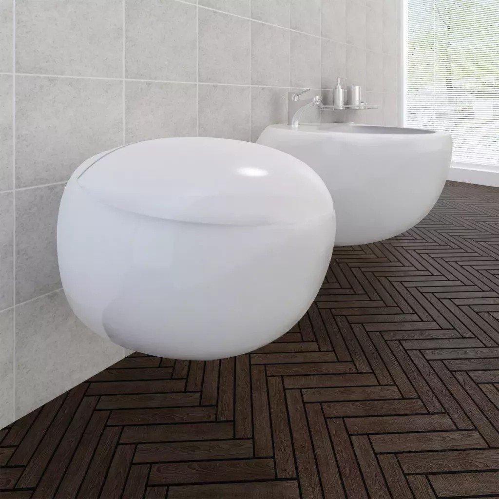 Set vas de toaletă și bideu cu montare pe perete, ceramică, alb
