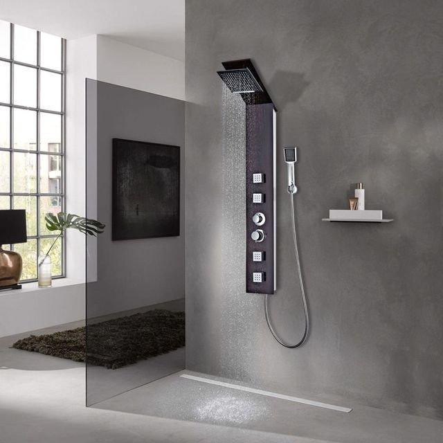 Sistem cu panel de duș, sticlă, maro cu imprimeu lemn
