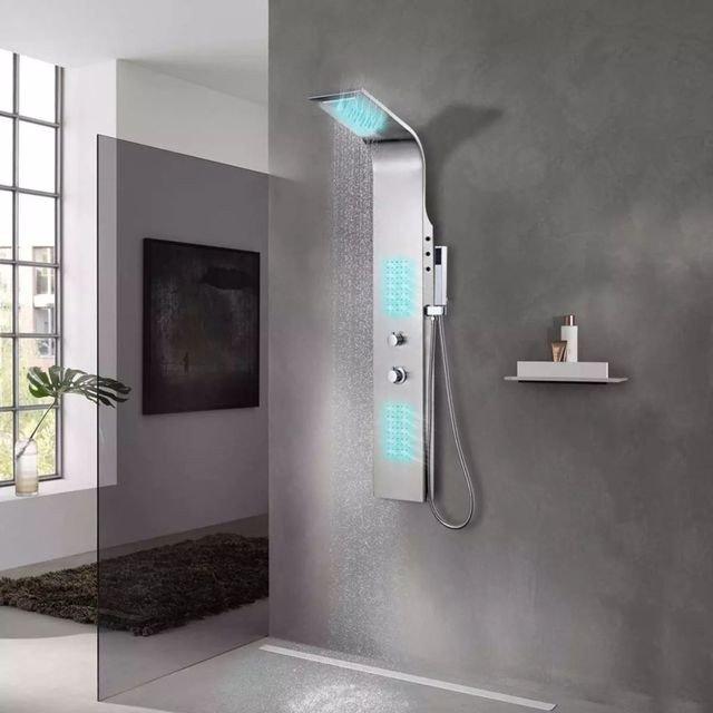 Sistem panel de duș curbat, oțel inoxidabil, cu led-uri incorporate