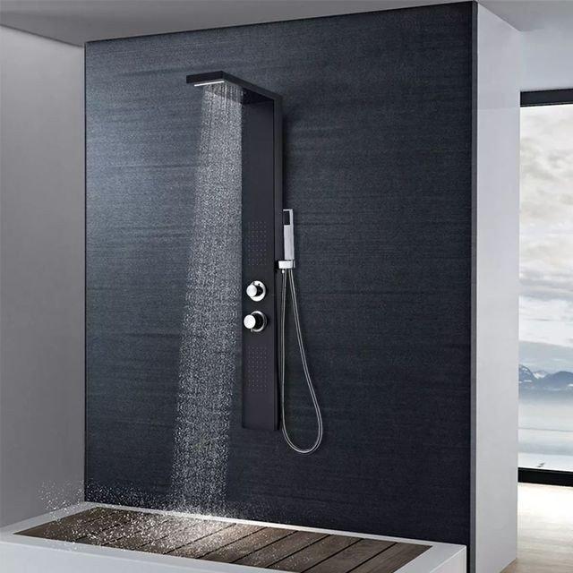 Sistem panel de duș din aluminiu, negru mat