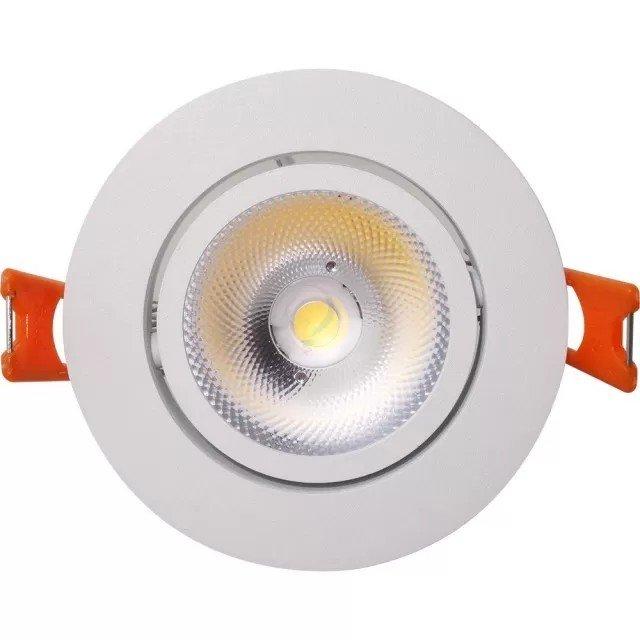 Spot LED rotund 12W, reglabil,  cu reflector, rama alba