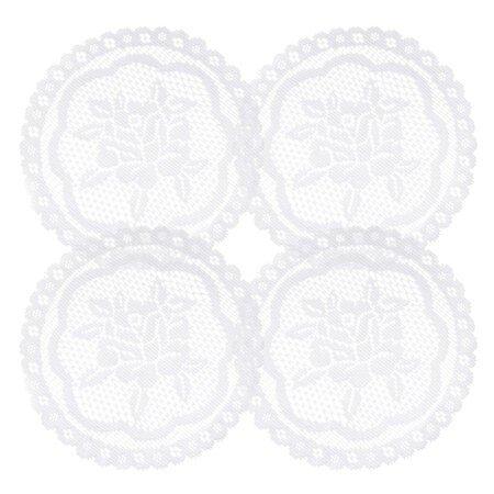 Suport decorativ Rozálie, diametru 20 cm, set 4 buc., alb