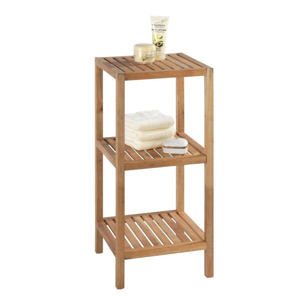 Suport din lemn de nuc pentru baie cu 2 rafturi Wenko Norway