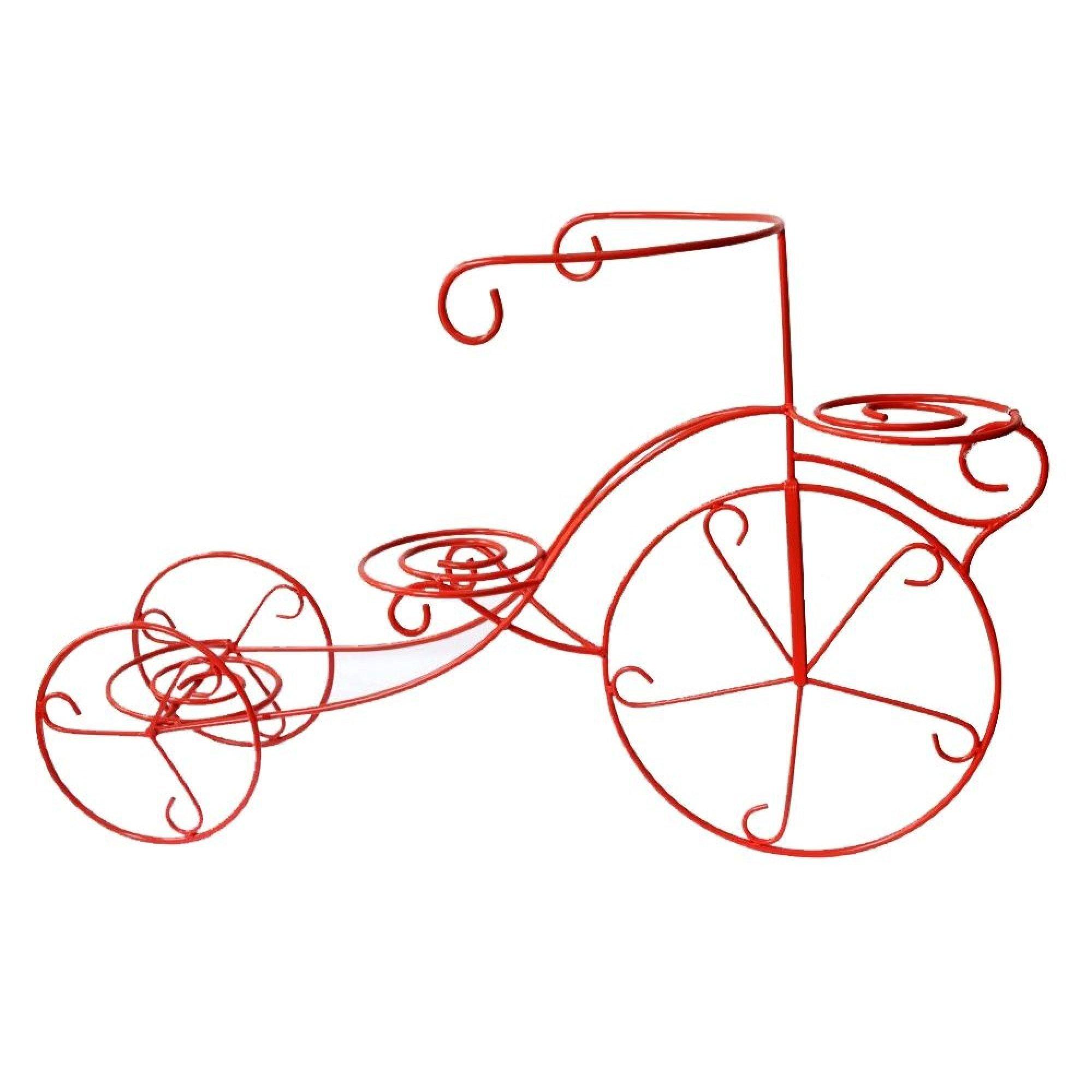 Suport flori bicicleta 3 ghivece rosu