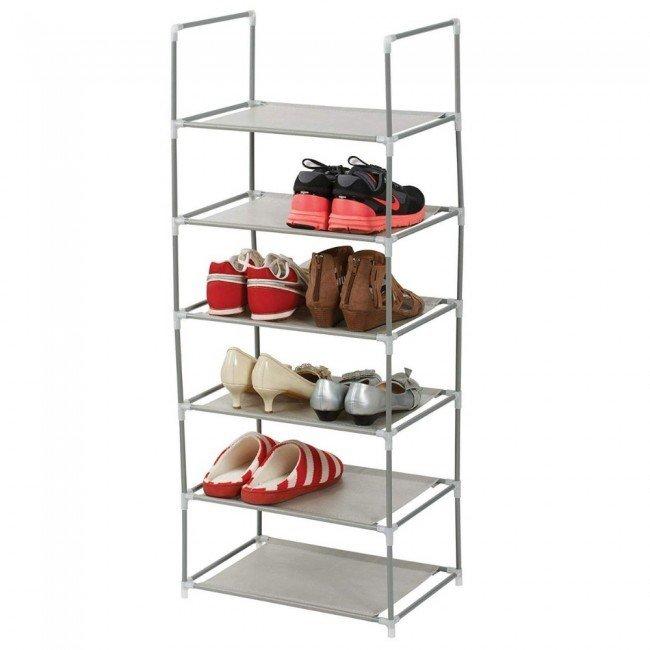 Suport pentru pantofi cu 6 niveluri, schelet metalic