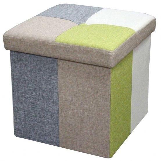 Taburet cu spatiu de depozitare Fily 1, tapitat cu stofa multicolora, 38x38x38 cm lxAxh
