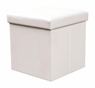 Taburet cu spatiu de depozitare Moly Cream,stil modern, tapiterie piele ecologica
