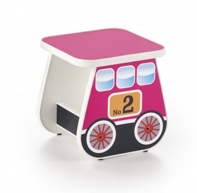 Taburet pentru copii, din pal laminat Lokomo Pink, l31xA31xH32 cm, modern, roz