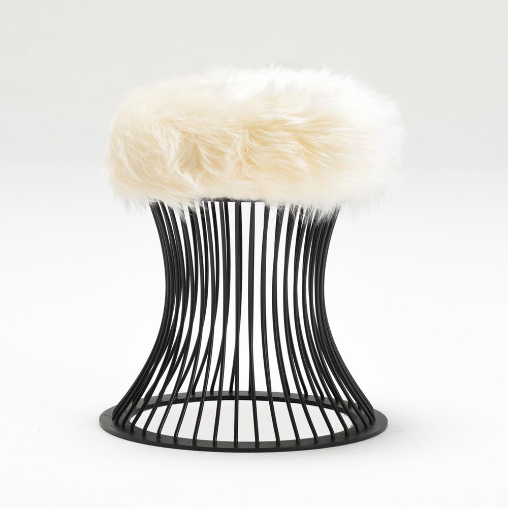 Taburet cu pernă din blană artificială Balcab Home Milly, alb