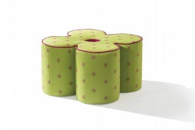 Taburet pentru copii, tapitat cu stofa Daisy Green, l50xA50xH30 cm, verde, stofa
