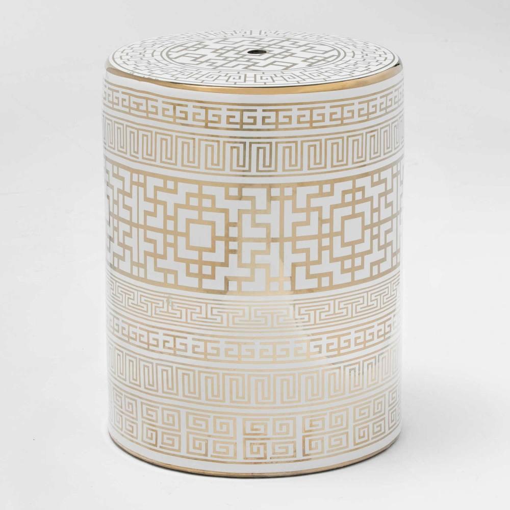 Taburet din ceramică Thai Natura Quano, 33 x 43 cm, alb - auriu