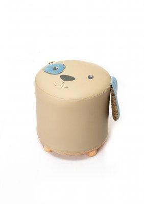 Taburet pentru copii, tapitat cu piele ecologica Tom Beige, Ø 30xH30 cm, modern