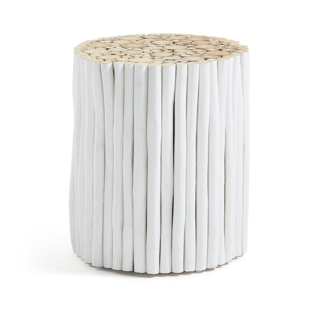 Taburet din lemn de tec La Forma Filippo, 35 cm, alb, stil scandinav