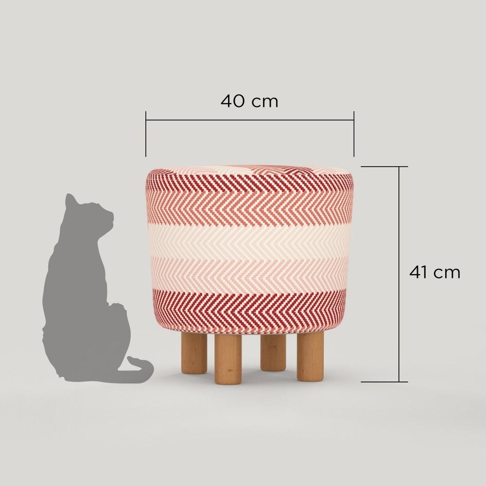Taburet cu picioare din lemn Cono Songe, ⌀ 41 cm, roz, stil scandinav