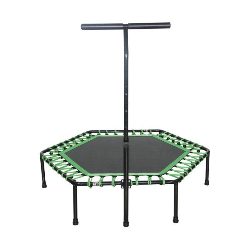 Trambulina hexagonala, 136 cm, cu maner reglabil, negru cu verde