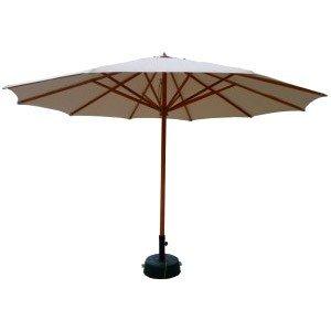 Umbrela cca. 400 cm / 10 spite, alba, cu structura din lemn