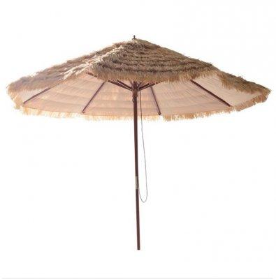 Umbrela de plaja sau gradina, din lemn si poliester, actionare manuala