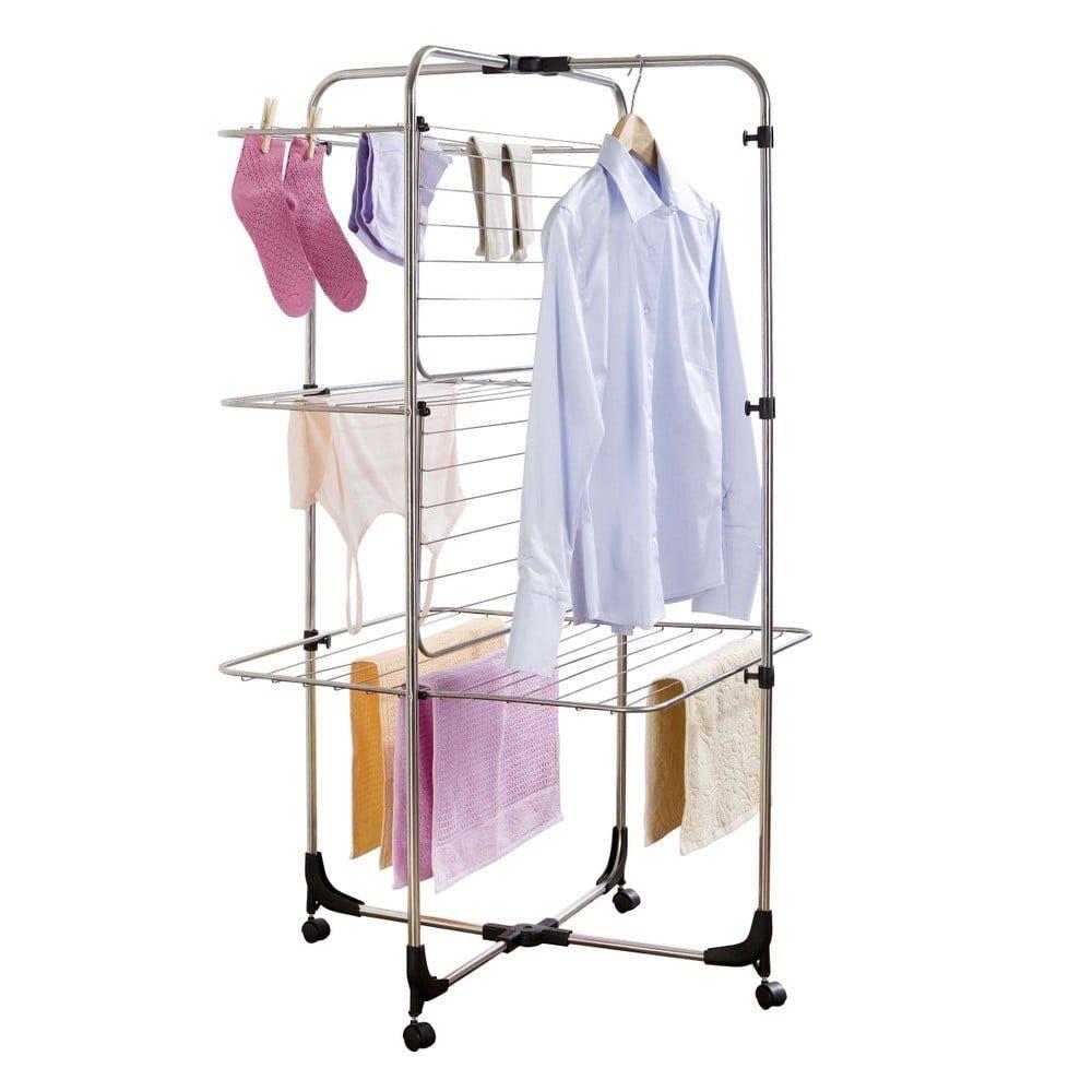 Uscător cu 3 nivele pentru rufe Laundry din otel inoxidabil, cu roti