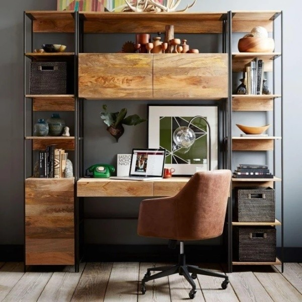 Bibliotecă din lemn masiv de mango Massive Home Jenny, 45 x 213 cm