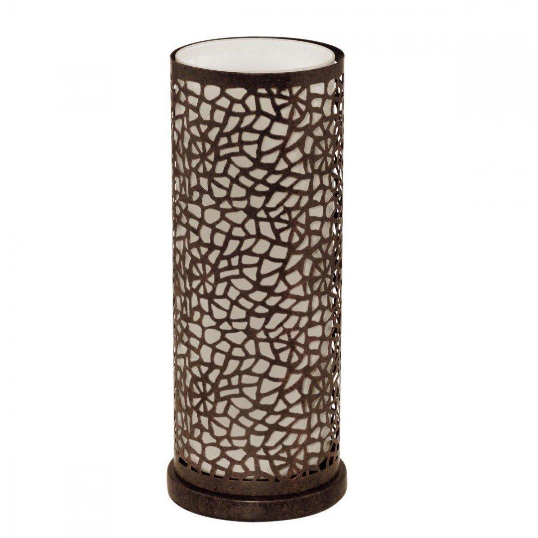 Veioza ALMERA cu abajur cilindric din sticla si metal perforat