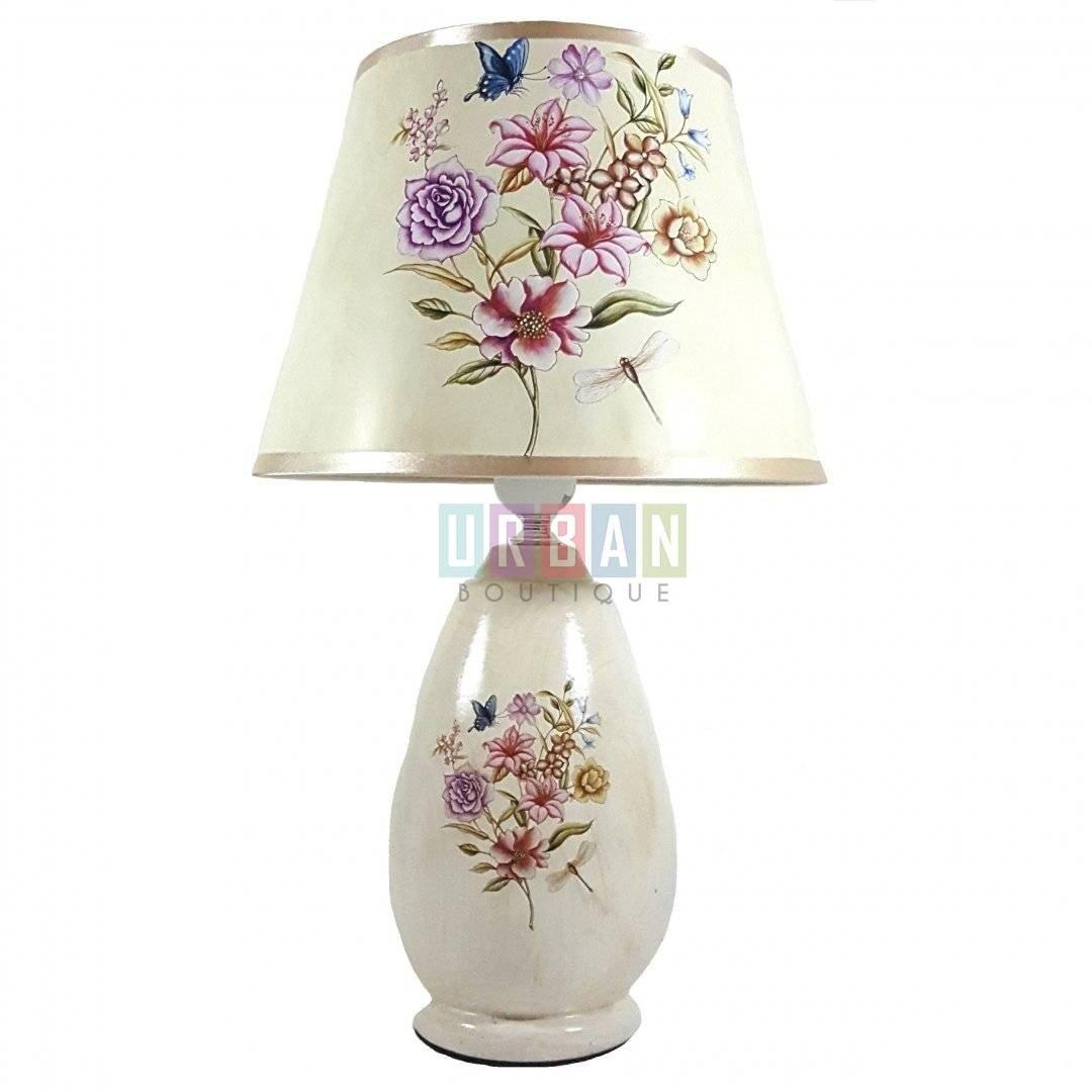 Veioza ceramica SUMMER, 24.5x41.5 cm, crem, cu model floral