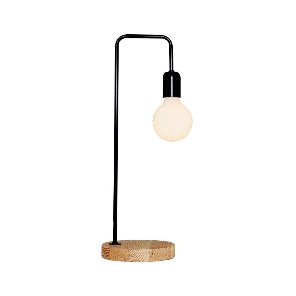 Veioză cu detalii din lemn Valetta, negru, stil minimalist