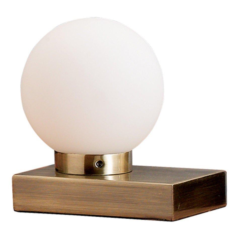 Veioza cu senzor de atingere, bronz antic, cu abajur sferic din sticla alba