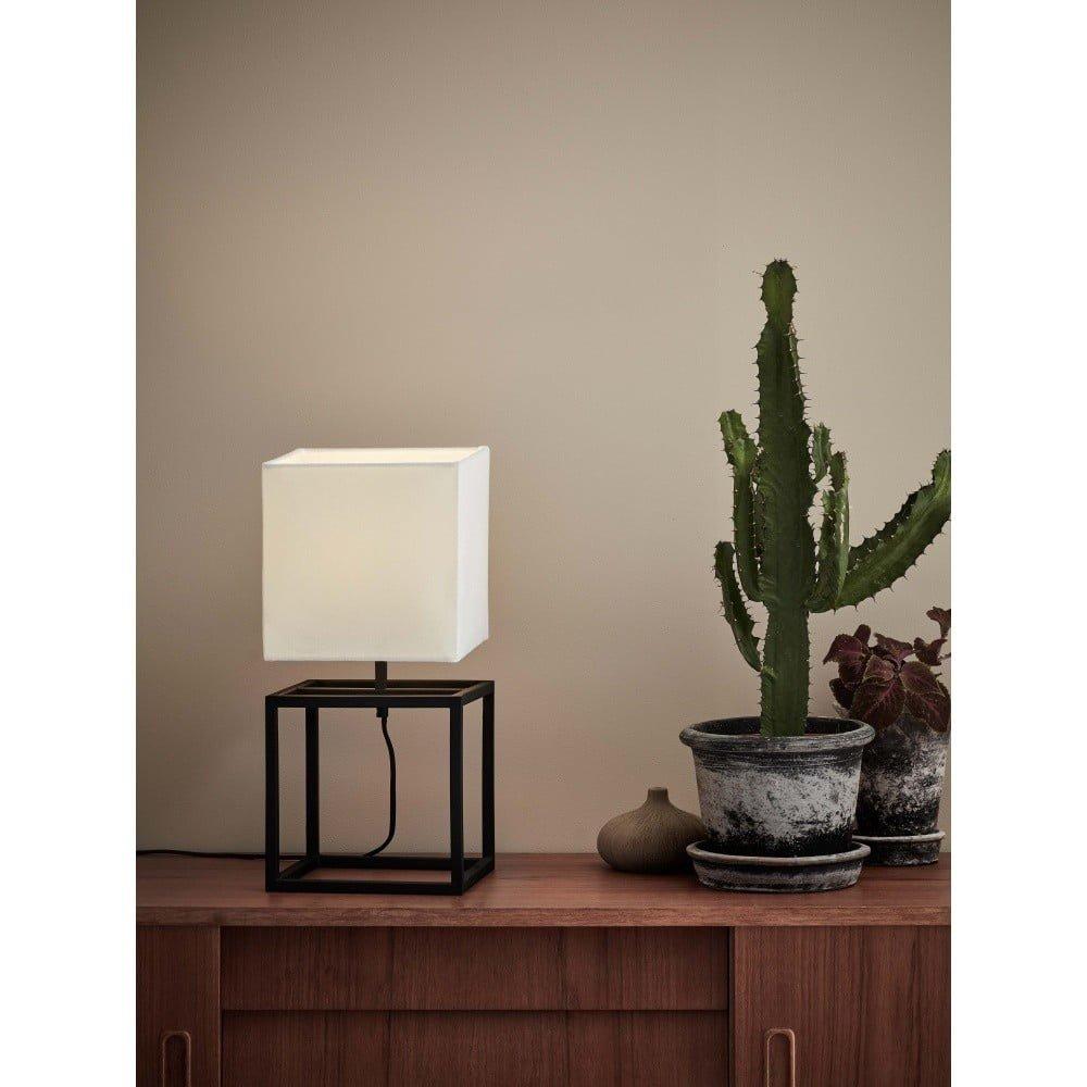 Veioză Markslöjd Cube, 20 x 20 cm, negru - alb, abajur textil, stil modern