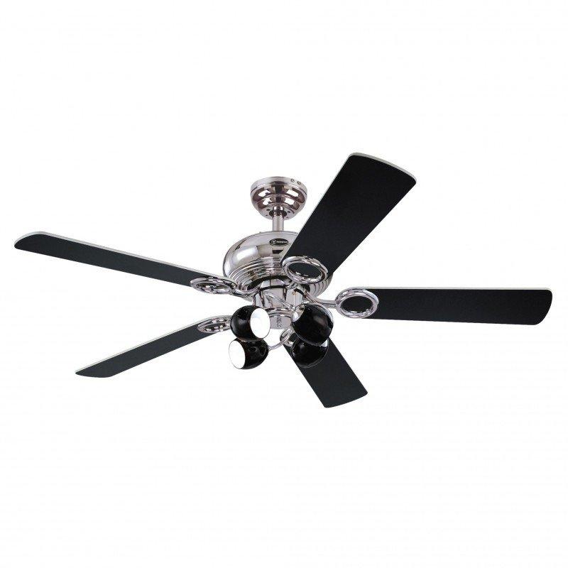 Ventilator de tavan cu lumină și control lanț Westinghouse Helix Fusion, negru, metal/lemn