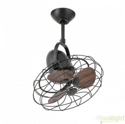 Ventilator de tavan modern Keiki, metalic, maro inchis