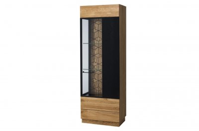 Vitrina din lemn si furnir, cu 1 usa Mosaic 11 Oak / Black, stil modern